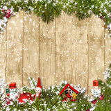 Christmas background with border of fir branches Stock Photography