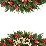 Noel Sign and Winter Greenery Royalty Free Stock Images