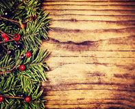Christmas Background Border. Green Twig of Christmas Tree Stock Photo