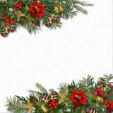 Christmas background with border of holly,poinsettia,fir tree, c. Gorgeous Christmas border of mistletoe, poinsettia, holly and fir branches on a white textural Stock Photo