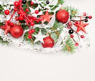 Christmas Background Border with Red Decoration stock photos
