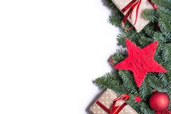Christmas background border on the right side with fir branches stock photos