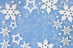 Christmas Background Border with Stars and Snowflakes