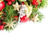 Christmas Background Border. Xmas Tree Twig Stock Images