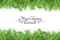 Christmas background. Bouquet of fresh fir trees and snow berries on a white background. Black text with decorations. Happy New Ye Royalty Free Stock Photo
