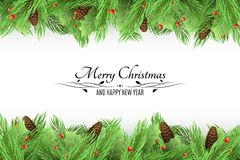 Christmas background. Bouquet of fresh fir trees and snow berries on a white background. Black text with decorations. Long bumps. Happy New Year. Vector Royalty Free Stock Photography