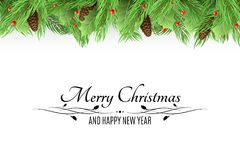 Christmas background. Bouquet of fresh fir trees and snow berries on a white background. Black text with decorations. Fir cones. H. Appy New Year. Vector Stock Photos