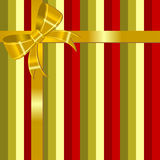 Christmas background with bow. Christmas striped square background with golden bow Stock Photo