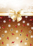 Christmas background with bow. Christmas background with gold bow Stock Image