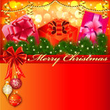 Christmas background with bow and Royalty Free Stock Photos