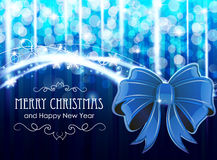 Christmas background with  bow. Blue Christmas and New Year background with  bow and snowflakes Royalty Free Stock Photo