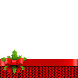 Christmas background with bow and holly berries  Royalty Free Stock Photos