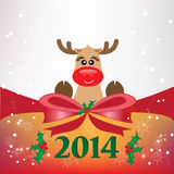Christmas background with bow and  reindeer Royalty Free Stock Image