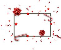 Christmas background with bows and candy. White Christmas background with bows, candy and red serpentine. Vector paper illustration Stock Photo