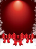 Christmas background with bows and snowflakes Royalty Free Stock Photos