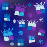 Christmas background with boxes. 2d Stock Images