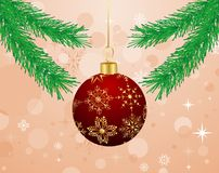 Christmas background with branch and ball Stock Images