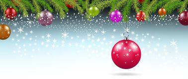 Christmas background with branches and balls with decorations. Illustration Stock Photos