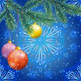 Christmas background with branches and balls Stock Image