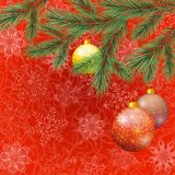 Christmas background with branches and balls. Christmas holiday background with fir branches, balls and snowflakes. Eps10, contains transparencies. Vector Royalty Free Stock Image