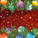 Christmas background with branches and balls. Christmas holiday background with fir branches, balls, stars and snowflakes Royalty Free Stock Photography