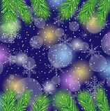 Christmas background with the branches of fir-tree Stock Photo
