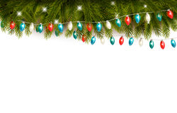Christmas background with branches and a garland. Stock Images