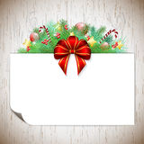 Christmas background with branches and ribbon Stock Photos