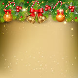 Christmas background. With  branches of  spruce and decorative elements Royalty Free Stock Image