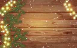 Celebratory lights and spruce branches on a wooden background. W royalty free illustration