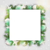 Christmas background with branches and white ornaments Royalty Free Stock Photos