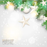 Christmas background with branches and white ornaments. Vector illustration, eps 10, with transparency  and gradient mesh Stock Photography