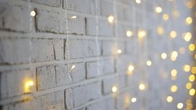 Brick wall and lights with blur effect stock video footage