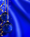Christmas background. Bright Christmas balls and ribbons Stock Photos