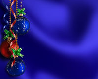 Christmas background. Bright Christmas balls and ribbons Stock Image