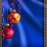 Christmas background. Bright Christmas balls and ribbons.It can be used as a background Stock Photos