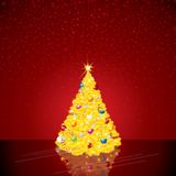 Christmas Background with Bright Christmas Tree Stock Photo