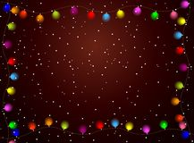 Christmas background with bright garlands Royalty Free Stock Photos