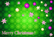 Christmas background. Bright greeting card. Green background with 3D toys stock illustration