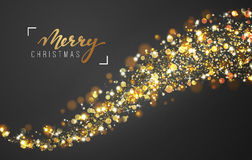 Christmas background with bright realistic glitter confetti of stars. Xmas Holiday glowing lights effect. Greeting cards design Merry Christmas and Happy New Royalty Free Stock Photos