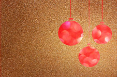 Christmas background with brown bokeh lights and christmas balls Royalty Free Stock Photo