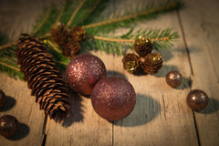Christmas background with brown and copper colours Stock Images