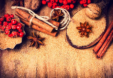 Christmas background with Brown sugar, anise star and cinnamon s Stock Photo