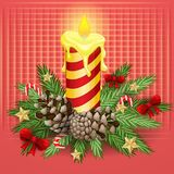 Christmas background with burning candle. On red Royalty Free Stock Photography