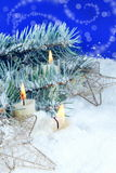 Christmas Background with Burning Candles Royalty Free Stock Images