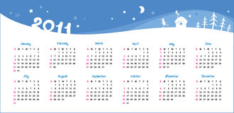 Christmas background and calendar 2011. Template for a calendar for a Christmas theme stock illustration