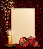 Christmas background with candle. Background with candle, Christmas balls and stars, illustration Royalty Free Stock Images