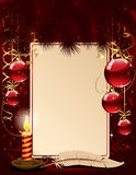 Christmas background with candle and balls. Background with candle, Christmas balls and stars, illustration Stock Photos