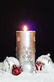 Christmas background with candle  christmas balls Royalty Free Stock Photos