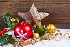 Christmas background with candle and decoration Stock Image
